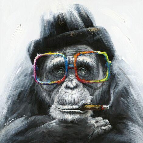 Peinture sur toile singe à lunettes - Monkey - Multicolore