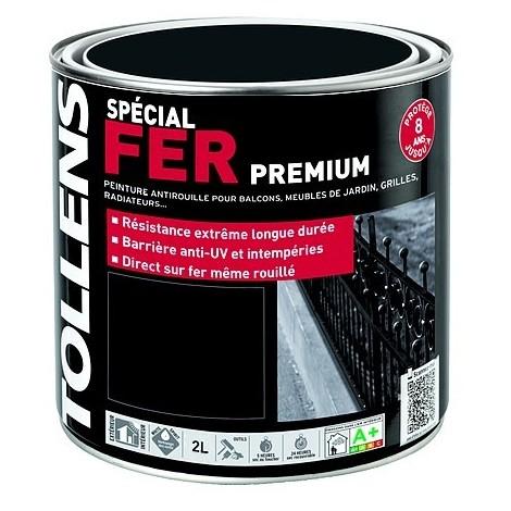 Peinture Tollens Spécial Fer Premium Noir Ferronnerie Mat 2l