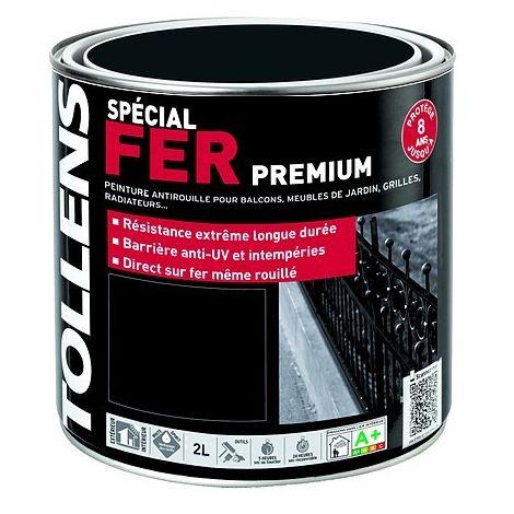 Peinture TOLLENS spécial Fer Premium NOIR FERRONNERIE MAT 2L   Conditionnement: 2 Litres