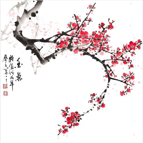 Peinture Traditionnelle Chinoise Parfum De Fleur De Prune Peinture Murale Art Pour La Vie De Mur De Piece Decor Decoration