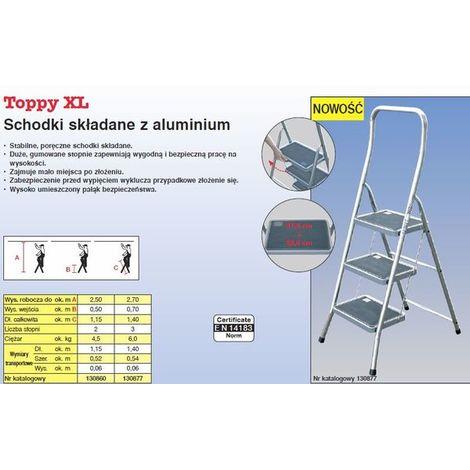 Peldaño plegable de aluminio 2 escalones Krause TOPPY XL
