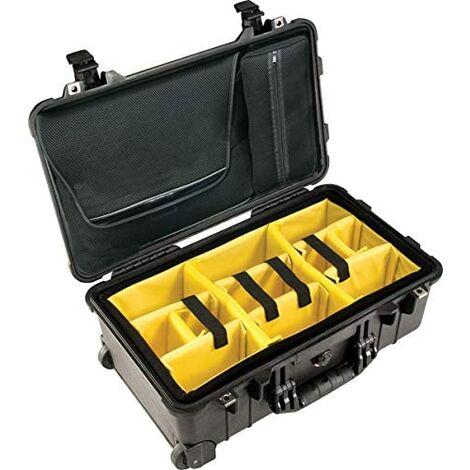 PELI 1510 Valise trolley rigide avec pochette pour ordinateur portable et compartiments à accessoires, étanche IP67, capacité de 27 litres, fabriquée en Allemagne, couleur noire.