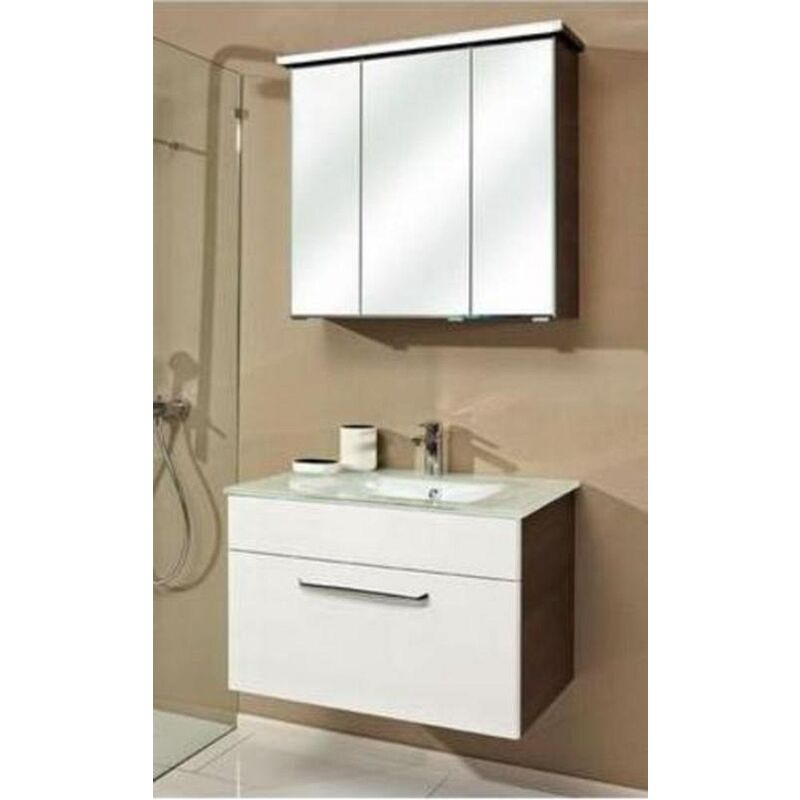 Trentino 74 cm mit Glaswaschbecken, Unterschrank und Spiegelschrank, BadMöbel - Pelipal