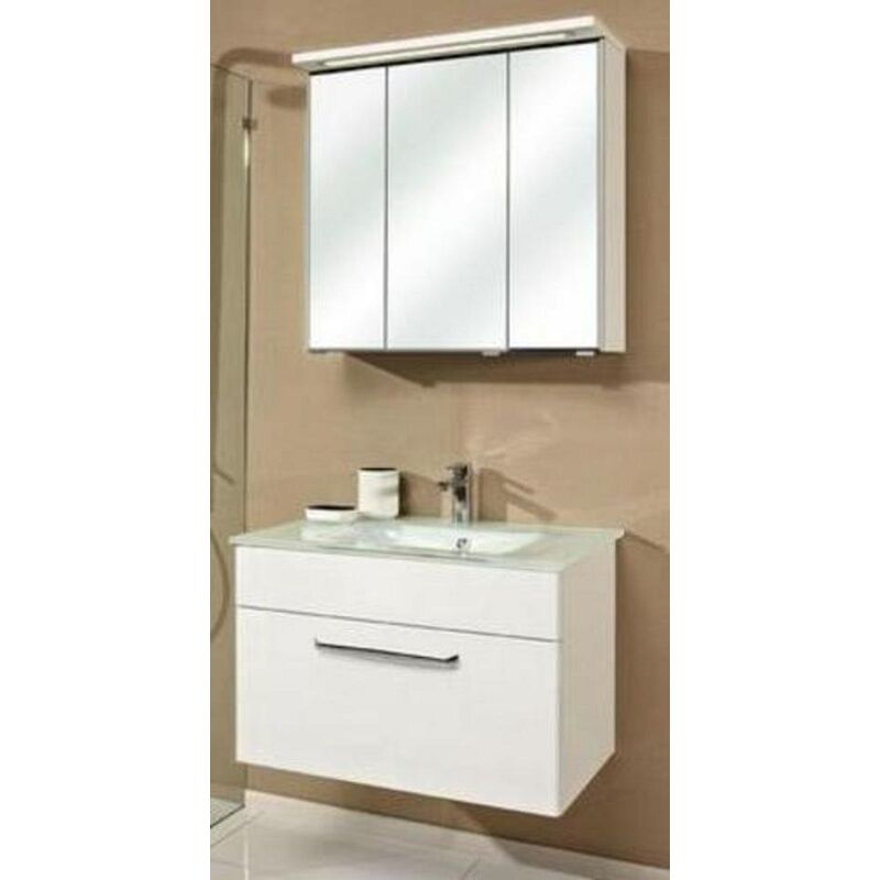 Trentino 74 cm mit Glaswaschbeken, Unterschrank und Spiegelschrank, BadMöbel - Pelipal