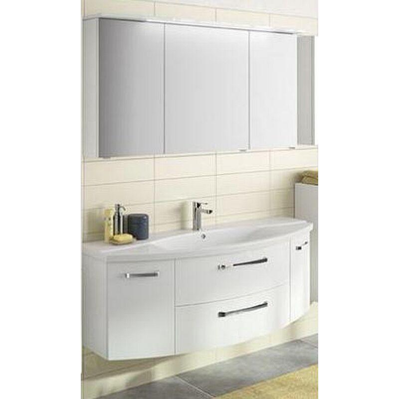 Pelipal Fokus 4010 weiß Badmöbel Set, 144cm mit Spiegelschrank