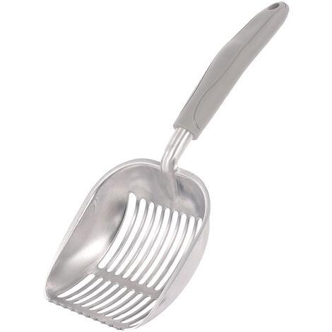 Pelle a litiere pour chat MSC-S-HB en metal pour excrements d'animaux, rayures verticales, poignee en caoutchouc gris