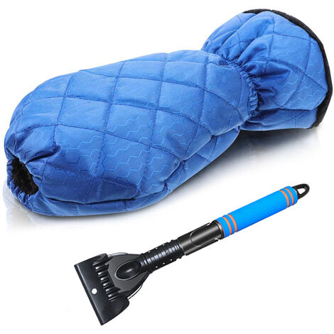 Pelle à neige de voiture et gants de velours pour garder au chaud Pelle de déneigement Outil rétractable Dégivrage et dégivrage Grattoir à glace et grattoir à neige