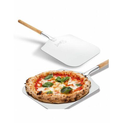 Pelle à pizza SPICE rectangulaire Alu Spatule alimentaire Manche en bois 30.5x30.5x66cm