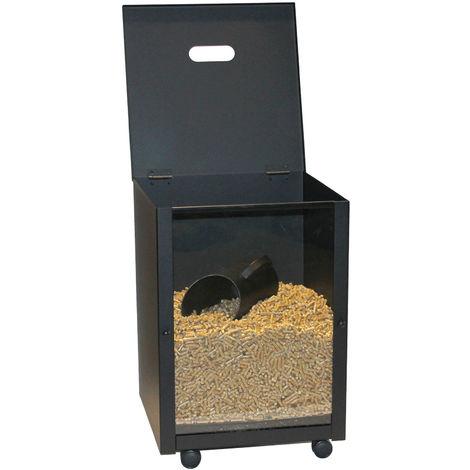 Pelletskorb Pelletsbox mit Glasscheibe Holzkorb Schwarz 30 Kilo Fassungsvermögen