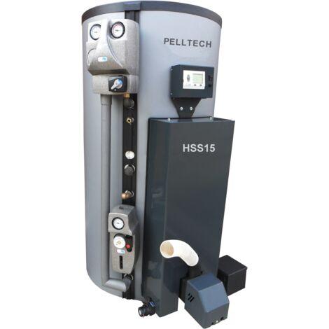 Pelltech Kombikessel HSS15 ( 18 kW ) Pelletheizung mit Brauchwasserspeicher Solar Pelletbehälter-250 kg