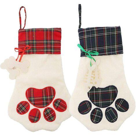 Peluche de luxe classique rouge et blanc bas de Noël ornements grand bas de Noël suspendu idéal décoration de cheminée de Noël idéal pour les enfants - bonne capacité pour les cadeaux