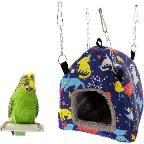 Peluche hamac Perroquet Suspendu Grotte cabane Tente pour Perruche Cockatiel Conure inséparable Perruche Hamster Gerbille Rat Chinchilla écureuil Cage (M)