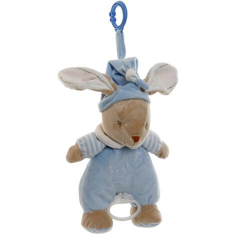 Peluche Musical de Conejo, para Bebés y Niños, con anilla para poder Colgarlo. Diseño Animal, con estilo Infantil - Hogar y Más Azul claro