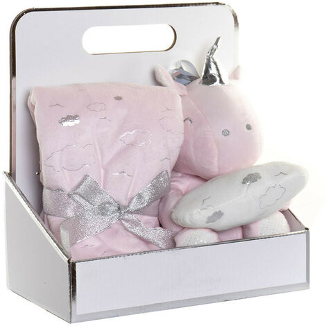 """main image of """"Peluche Unicornio con Manta para Bebés, Regalo recién Nacido. Manta Bebé Suave 18x18x10 cm Color - Rosa claro"""""""