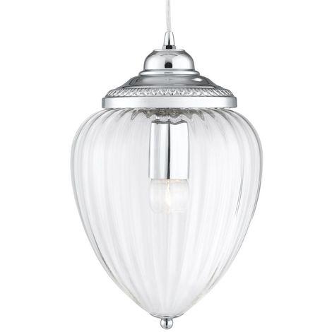 PENDANT 1 LIGHT CHROME CLEAR RIBBED GLASS