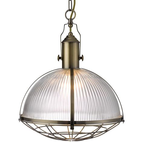 PENDANT 1 LIGHT INDUSTRIAL - ANTIQUE BRASS & CLEAR GLASS