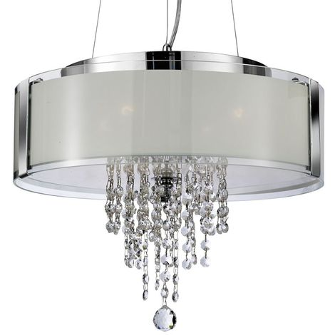 PENDANT - 4 LIGHT PENDANT CHROME WITH FROSTED GLASS AND CLEAR CRYSTAL BUTTONS & DROPS