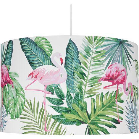 "main image of ""Pendant Ceiling Light Drum Lampshade Jungle Pattern White Flamingo"""