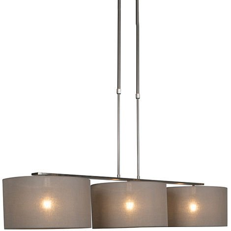 """main image of """"Pendant Lamp Combi 3 Deluxe Steel with Taupe Cylinder Shades"""""""