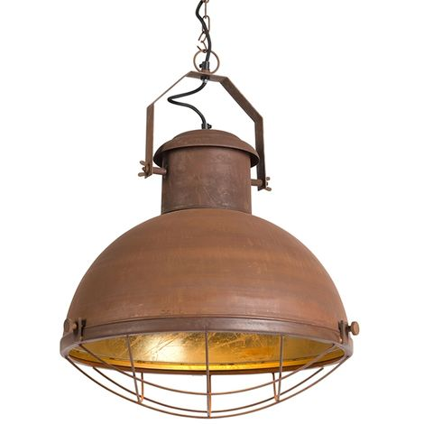 Pendant Lamp Engine Rust with Gold inner Shade