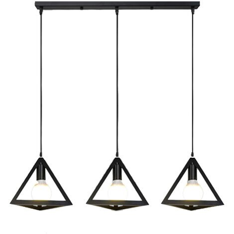 Pendant Lamp Industrial Chandelier 3-Light Adjustable Triangle Cage Vintage Hanging Ceiling Light for Kitchen Cafe Hallway(with cover)Black Painted Finish.