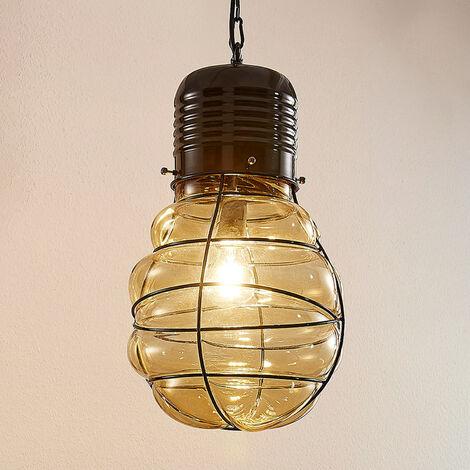Pendant lamp Maluka, amber-coloured glass