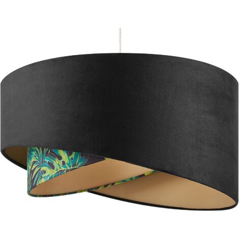 Pendant Lamp Modern Black with Leaf Pattern Polyester Double Shade H157 cm Zeja
