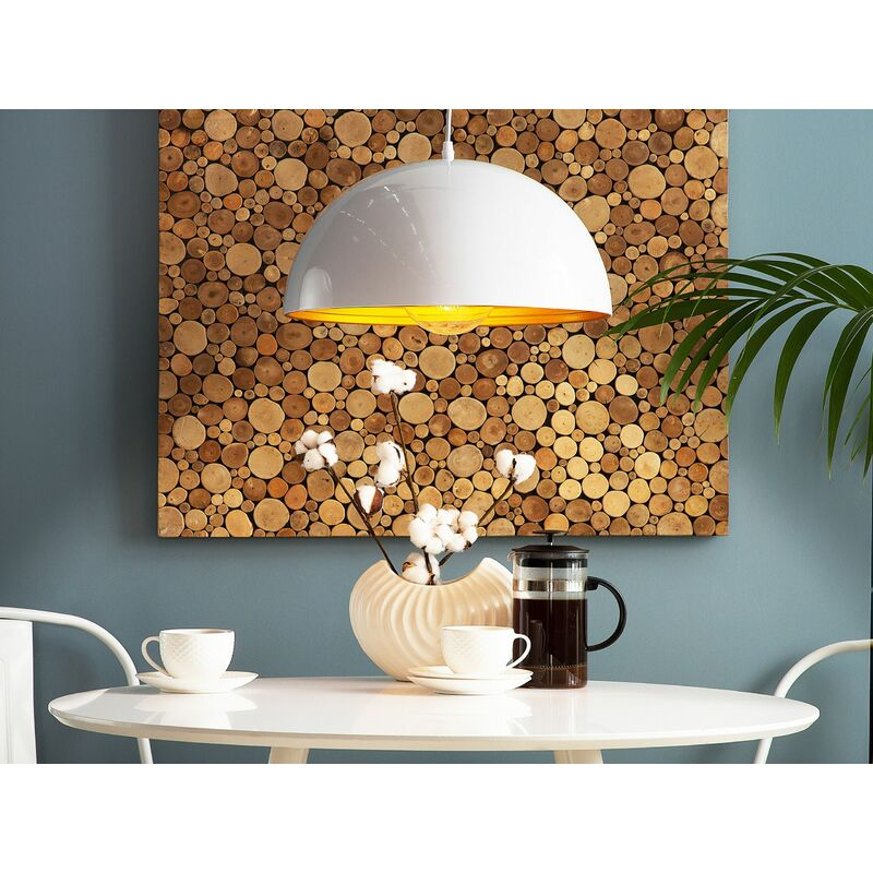 Image of 1 Light Glossy White Ceiling Pendant Round Aluminium Shade Modern Design