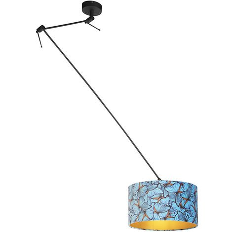 Pendant Lamp with Velvet Shade 35cm Butterfly with Gold - Blitz I Black