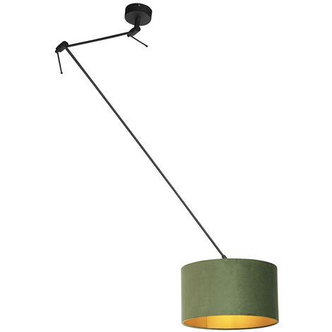 Pendant Lamp with Velvet Shade 35cm Green with Gold - Blitz I Black