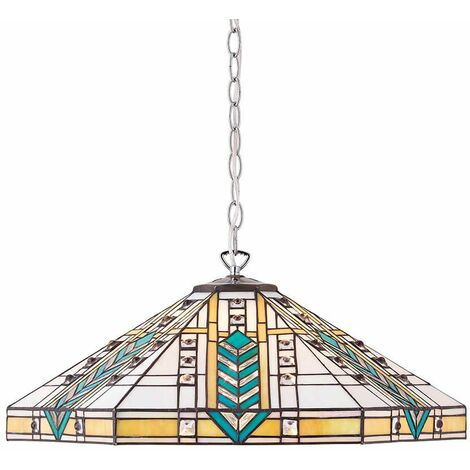 Pendant light 3 bulbs Lloyd, glass and chrome