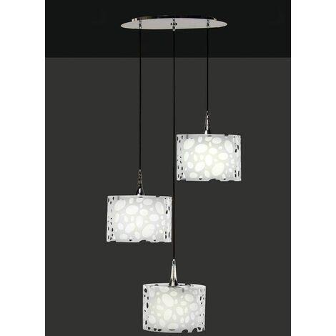 Pendant light 3 Bulbs Lupine E27, shiny white / white arylic / polished chrome