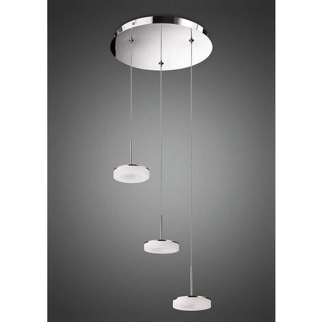 Pendant light 3 bulbs Nimbus 15W LED 3000K, 1350lm, polished chrome / frosted acrylic