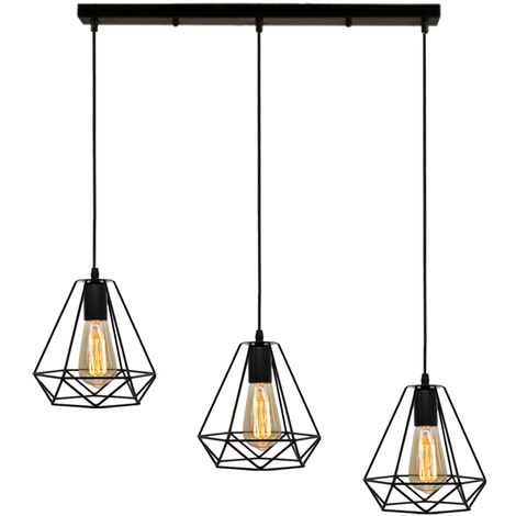 Pendant Light Chandelier Retro Black Adjustable Diamond Ceiling Light 3 Lights Industrial for Living Room Dining Room Bar Balcony