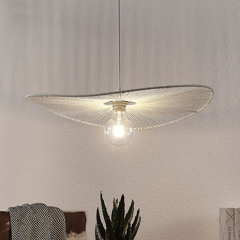 Pendant light Frido made of twisted paper, white