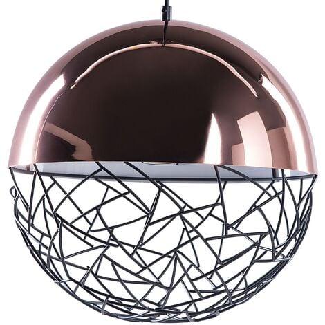 Pendant Light Globe Lamp Gloss Effect Metal Framework Copper Padma