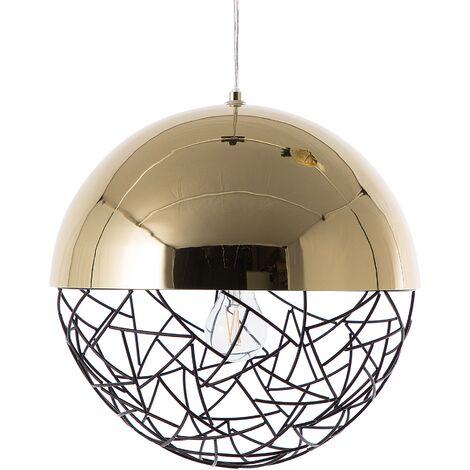 Pendant Light Globe Lamp Gloss Effect Metal Framework Gold Padma