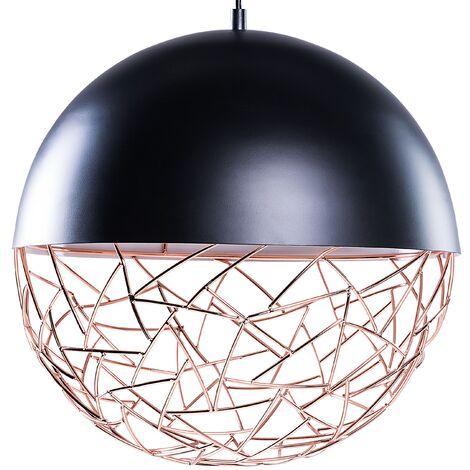 Pendant Light Globe Lamp Matt Effect Metal Framework Black Padma