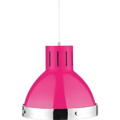 Pendant light, hot pink/chrome finish