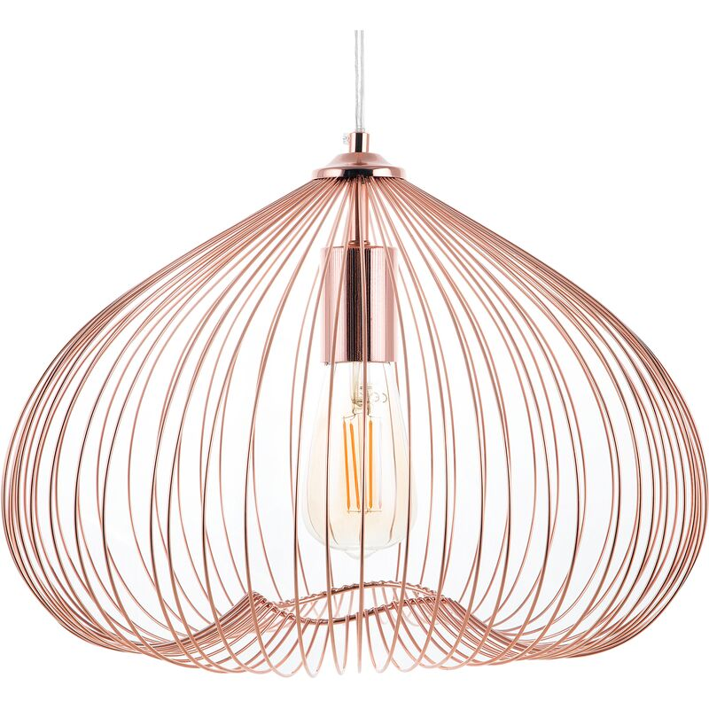 Image of 1-Light Pendant Ceiling Copper Metal Shade Cage Wire Industrial