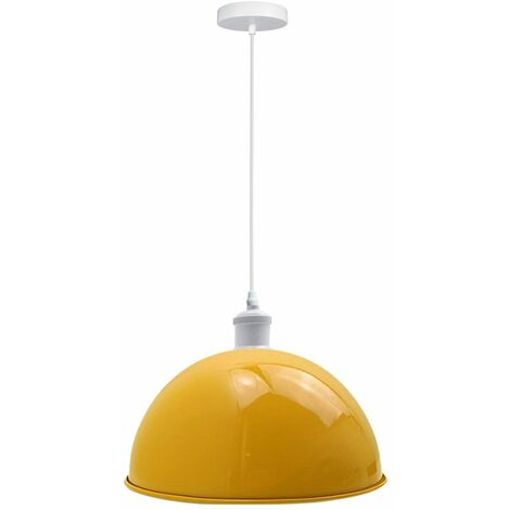 Pendant Light Metal Fixture Yellow Shade Vintage Style Industrial