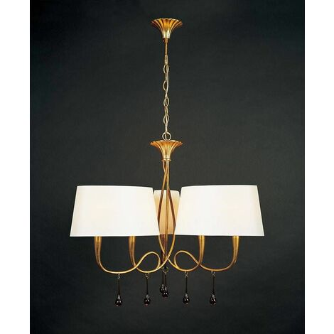 Pendant light Paola 3 Arm 6 Bulbs E14, painted gold with Cream shade & amber glass droplets