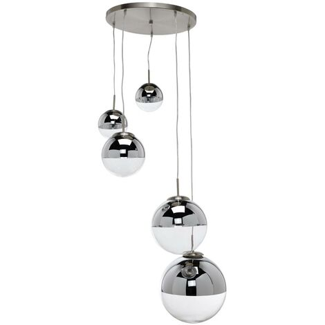 Pendant light Ravena with glass spheres, five-bulb