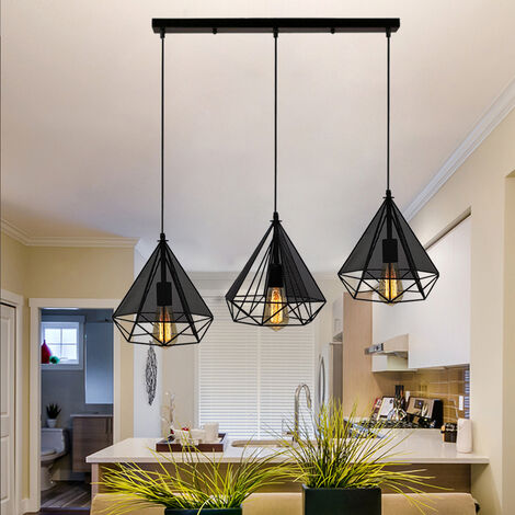 Pendant Light Simple Gauze Retro Chandelier 25cm Creative Adjustable Diamond Ceiling Light 3 Lights Industrial Pendant Light for Living Room Dining Room Bar Balcony Black