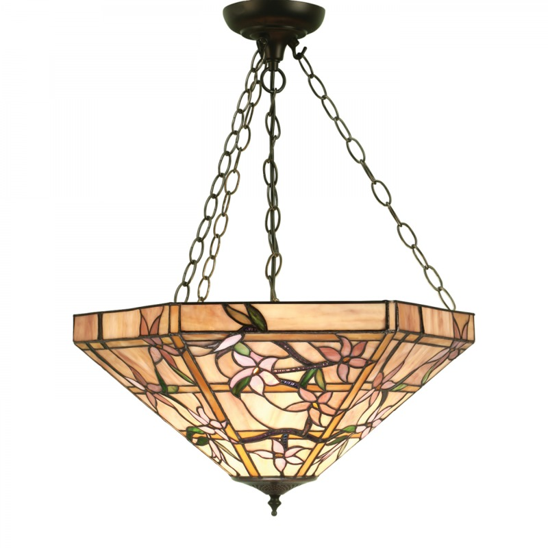 Pendant Light Tiffany Style Glass Dark Bronze Paint With Highlights By Happy Homewares