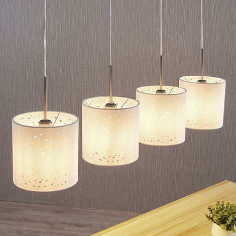 Pendant light Umma with holes, 4-bulb, white