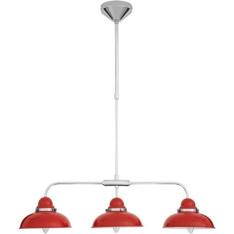 Pendant light,3 light, red/chrome