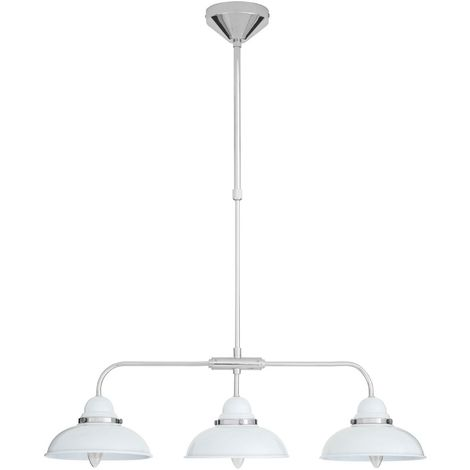 Pendant light,3 light, white/chrome