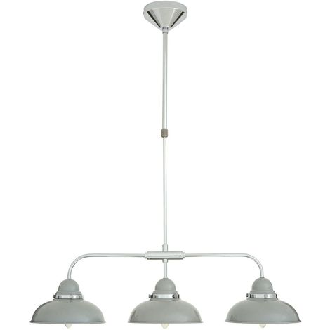 Pendant light,3 shades, light grey/chrome
