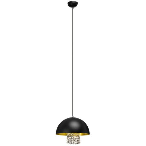 Pendant Light,Black Metal/With Crystals,Gold Finish Inner